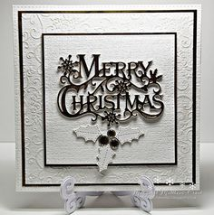 this week it is Sylvie's choice of theme for the challenge..... made in cream and gold.....with Impression obsession stitched holly and a crafters companion sentiment die....I think,I take them out