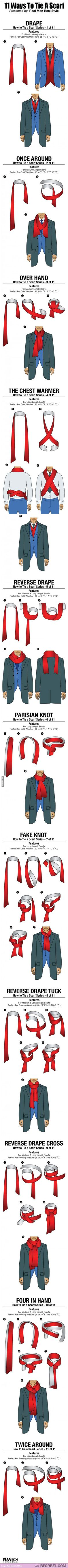 11 Ways To Tie A Scarf For Men>> I'm not the only one who thought of Sherlock, right?