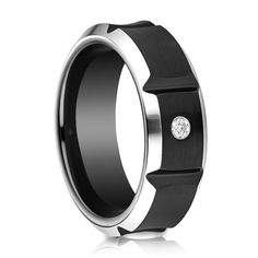Mens 8mm Black Cobalt Diamond Ring available at Titanium-Jewelry.com (800)370-2646 #mensweddingbands #mensrings #blackjewelry #mensaccessories
