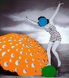 john baldessari paintings   John Baldessari, Umbrella (Orange): With Figure and Ball (Blue, Green ...