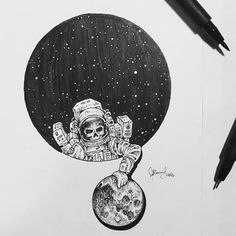 Space drawing by @kerbyrosanes  #art #drawing #bnw #sketch #black #and #white #paintings #austronaut #skull #moon #dark #rad #scifiart