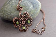 Wire wrapped pendant Celtic wire weave copper wire от OrioleStudio