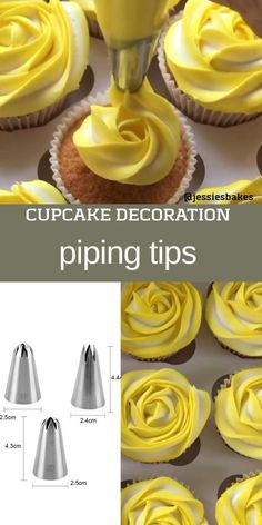 Cupcake Decorating Tips, Cake Decorating Piping, Creative Cake Decorating, Cake Decorating Supplies, Cake Decorating Techniques, Creative Cakes, Cookie Decorating, Yellow Cupcakes, How To Ice Cupcakes