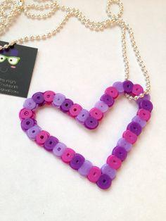 Perler Bead Purple Heart Necklace