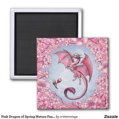 Pink Dragon of Spring Nature Fantasy Art 2 Inch Square Magnet