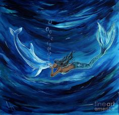 Mermaids Dolphin Buddy Painting  - Mermaids Dolphin Buddy Fine Art Print