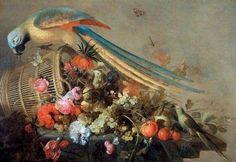 CORNELIS DE HEEM (Leyde, 1631 - Anvers, 1695). Nature morte au perroquet et à la corbeille de fruits et de fleurs