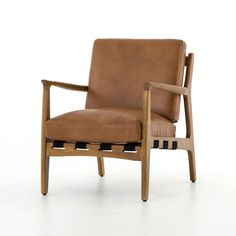 Silas Mid-Century Modern Leather Arm Chair - Copper Patina