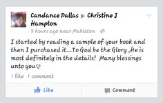 Thank you Candance for supporting my book. ☆☆☆☆☆