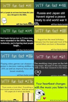 Cool facts... I already knew about the book which had 100 blank pages about what men knew about women.