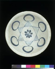 Bowl        Place of origin:        Basra, Iraq (probably, made)      Date:        9th century (made)      Artist/Maker:        Unknown (production)      Materials and Techniques:        Earthenware, with blue painting in an opaque white glaze