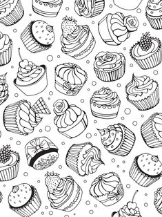 Popular colorings Popular colorings Alena Rybakova dzyndesign Doodle b 038 w Cupcake coloring pages Coloring books Coloring book pages Coloring pictures Doodle pages nbsp hellip animados Cupcake Coloring Pages, Coloring Book Pages, Coloring Sheets, Doodle Pages, Doodle Art, Cupcake Drawing, Printable Coloring, Free Coloring, Art Lessons