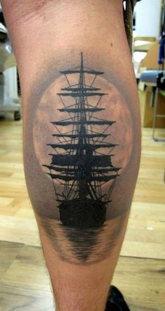 Ship and Sunset Tattoo By Meehow Kotarski. This is so beautiful!