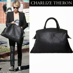 d7eb72ea5647 Charlize Theron with black leather woven Bottega Veneta bag leaving gym  January 14 2014 Want her