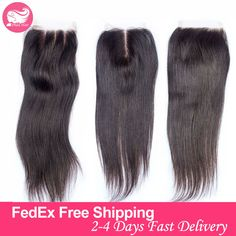 Grade 7A Human Brazilian Straight Virgin Hair Lace Closure Middle Part Bleached Knots 4x4 Silky Straight Swiss Lace Top Closures >>> Smotrite etot zamechatel'nyy produkt.