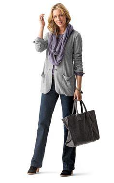J.Jill knit blazer, denim trousers, circular scarf