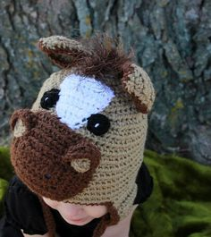 """"""" Lightning """" the crocheted horse hat by Snuggle bug kidz"""