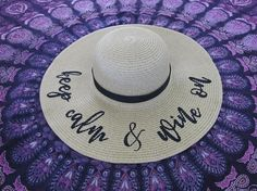 Keep Calm & Wine On Embroidered Beach Hat