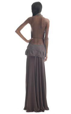 Shop Paula Raia Pale Brown Illusion Gown at Moda Operandi