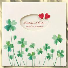 Faire-part de mariage coeurs et trèfles à quatre feuilles - MA13-081 - Buromac 103.102 | Faire-part.fr