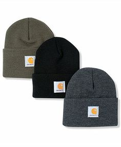 Macys - Carhartt Hat, Logo Cuffed Beanie - brite orange, black, charcoal heather