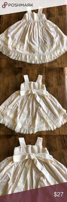 Beautiful handmade little girl dress This was handmade for a wedding! It can be casual or dressed up. It is nice material and lined. My little girl was 2.5 when she wore it and in a size 3t. Dresses