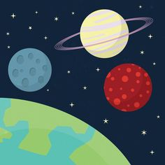 Create a cute cartoon style space scene illustration using simplified vector shapes and solid bold colours.