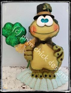 St. Patrick's Day FROG collectible shamrock gold hat original hand painted sculpted prim chick designs lisa robinson ofg teamhaha PATRICK by primchick on Etsy