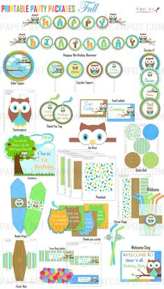 Owl Boy Birthday Party - Full Collection Printable Party, Party Package Personalized - DIY - Custom - Paper Art by Marlene Campos. $39.50, via Etsy.