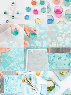 How amazing is this DIY Fabric Marbling technique? Fabric marbling is such a uni… How amazing is this DIY Fabric Marbling technique? Fabric marbling is. Fabric Painting, Fabric Art, Fabric Crafts, Fabric Design, Marble Fabric Diy, Watercolor On Fabric, Paint Fabric, Shibori, Craft Projects