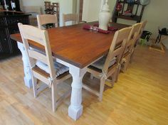 Solid Oak Table with Solid Oak Chairs Solid Oak Table, Solid Wood, Wood Table, Dining Table, Oak Chairs, Wooden Furniture, Tables, Home Decor, Timber Furniture