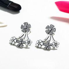 Authentic 925 Sterling Silver White Enamel Darling Charm Daisy Stud Earrings