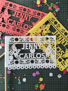 Papel Picado Mexican Wedding Flags Customized Banners for Weddings Engagement Parties and Paper Cut Fiesta Decorations Set of 12