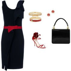 """""""LBD"""" Love this little black dress with a pop of red and the shoes are too cute."""