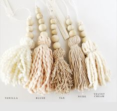 Wood bead tassel, stocking tassel, holiday tassel, gift wrap, home decor tassel Wood bead tassel stocking tassel holiday tassel gift wrap Yarn Crafts, Bead Crafts, Diy Crafts, Christmas Crafts, Christmas Ornaments, Christmas Tree, Christmas Stocking, Crafts For Kids, Arts And Crafts