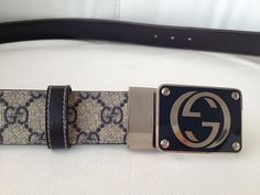 0bb4caebcdb Gucci Blue Monogram TAN CANVAS AND NAVY LEATHER SILVER GG Buckle REVERSIBLE  BELT  fashion  clothing  shoes  accessories  mensaccessories  belts (ebay  link)