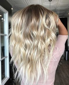 @hairbykatieo Blonde balayage babylights hair victoria's secret hair shiny summer beach waves