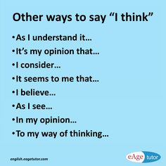 Other ways to say I think {Hilfe im Studium English Writing Skills, Book Writing Tips, Writing Words, English Lessons, Essay Writing, English Vocabulary Words, Learn English Words, English Phrases, School Study Tips