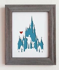 This is a cut out of Disney World, including Walt holding hands with Mickey, and the disney castle. Perfect for gift or for your home decoration! - Ideas In Crafting Disney Diy, Casa Disney, Deco Disney, Disney Home Decor, Disney Crafts, Disney Dream, Disney Love, Disney Magic, Disney Pixar