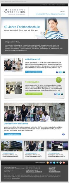 Newsletter-Design-Beispiel Hochschule Fresenius  #Newsletterdesign #Email #Emailmarketing