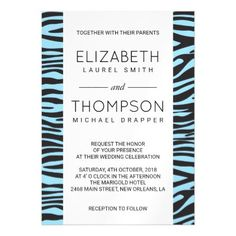 Wedding - Animal Print Zebra Stripes - Blue Black Magnetic Card - wedding invitations diy cyo special idea personalize card