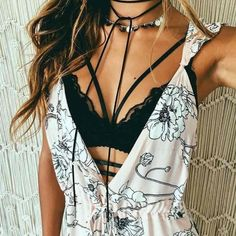 Top: ogvibes fashion black black and white trendy girly mace lace strappy boho floal floral