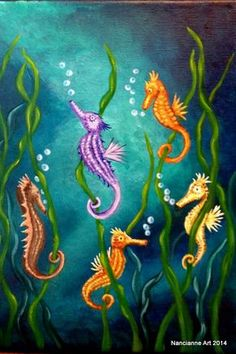 Sea Horses Fantasy Art Multi-color Under the Sea