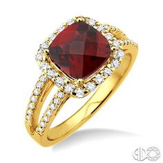 8x8mm Cushion Cut Garnet and 1/2 Ctw Round Cut Diamond Ring in 14K Yellow Gold