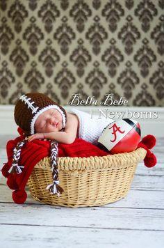 Happy Baby Football Hat by HappyBabyCrochet on Etsy, $25.00