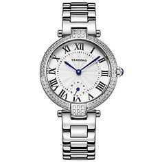VEADONS Women Luxury Brand QuartzWatch Gifts For Girl Full Stainless Steel Rhinestone Wristwatches >>> Details can be found by clicking on the image.