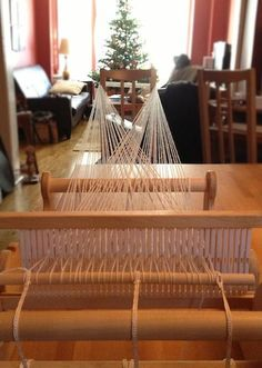 Chair warping - yarn harlot NOTE: chair WILL move. Saw it in another video, but same concept on weighted or heavier furniture item.