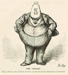"""The """"Brains"""" Boss Tweed depicted by Thomas Nast in a wood engraving published in Harper's Weekly, October 21, 1871"""