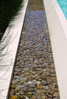 Pebble lap pool creates a border around the swimming pool
