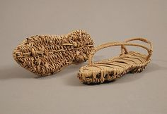 Pair of Sandals Date: century Geography: Made in, Kharga Oasis, Byzantine Egypt Culture: Coptic Medium: Palm leaf with the inner sole made of strips, the lower sole in basket weave, and the straps plaited MET MUSEUM Egypt Culture, Empire Romain, Egyptian Costume, African Textiles, Medieval Art, Shoe Art, Ancient Egypt, Metropolitan Museum, Fashion History